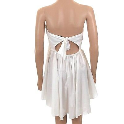 a12c271ea9dea EXPRESS NEW WHITE STRAPLESS TIE BACK FIT & FLARE DRESS Small 0-2 R ...