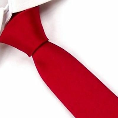 New Solid Red Classic Slim Narrow Men's Casual Tie UK Seller Son Gift Suit UK