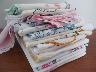 Lot Vintage Embroidered Floral Pillowcases & Tablecloths & Runners - over 4 lbs