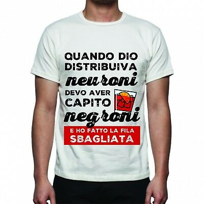 Tshirt T-Shirt Uomo No Happiness Regalo Divertente Neuroni Negroni