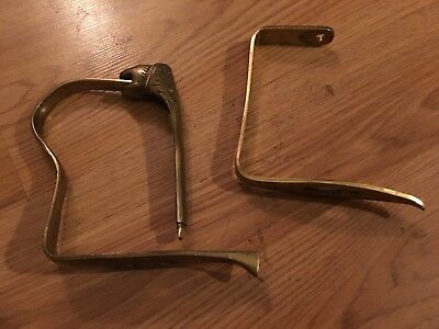 Brass sword Sabre saber guard fittings (two) with lion head