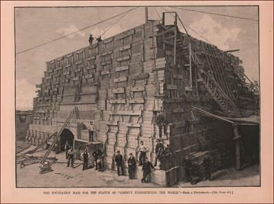 STATUE OF LIBERTY, Foundation being Built, antique engraving original 1884
