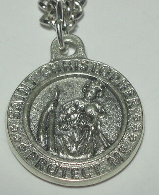 """Round St Christopher US Marine Corps Holy Medal on 24"""" stainless steel chain"""