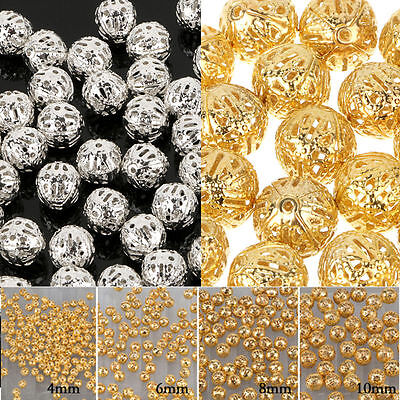Fashion Round Filigree Spacer Beads Gold/Silver Plated For Handmade 4/6/8/10 mm