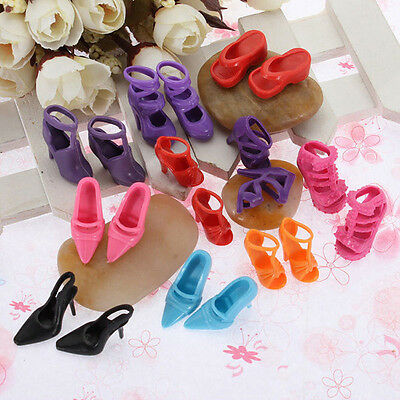 10 pairs of Barbie Shoes Toys Doll Princess Clothes High Heel Sandals New