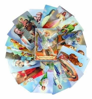 Pack of 54 Assorted Holy Cards with Catholic Saints and Prayers for Miracles