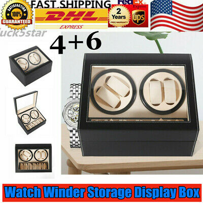 4+6 Automatic Rotation Leather Watch Winder Storage display Case Black USA