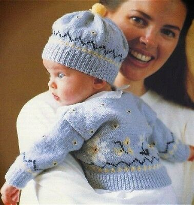 Babies Fair Isle Copy Cardigan and Hat Knitting Pattern Baby Boys or Girls 0-3