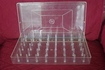 Vintage Clear Plastic Thread Spool Holder Large Container Holds 40 Lift Off Lid