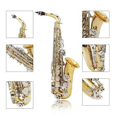 LADE Alto Saxophone Sax Glossy Brass Engraved Shell Button Wind Instrument F2W7