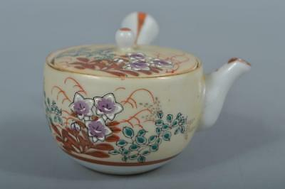 M9557: Japanese Old Kutani-ware Colored porcelain Flower pattern TEAPOT Sencha