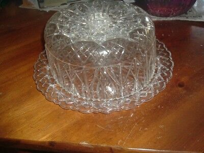 Vintage Retro Acrylic Cake Plate W/Dome Crystal Cut Pattern