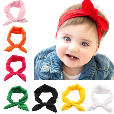 1/2/3Pcs Kid Baby Toddler Girls Bow Headband Hair Band Accessories Plain Colours