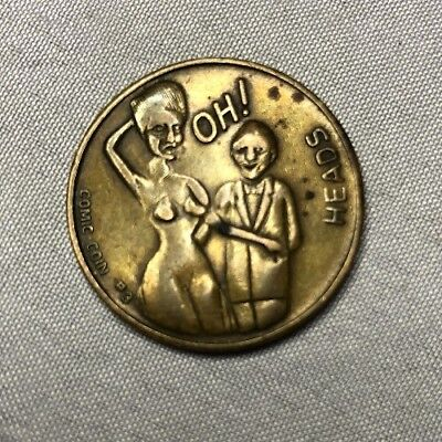 vintage comic coin #3 risque naughty nude heads tails booth brass gag token