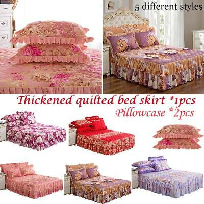 Floral Bedspread Bed Skirt Cover Sheet Queen Size / 2 Pillow Case Bed Decor