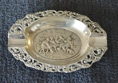 Vintage Repousse Silver Plated Ashtray Zilpla 90 Tavern Scene #9