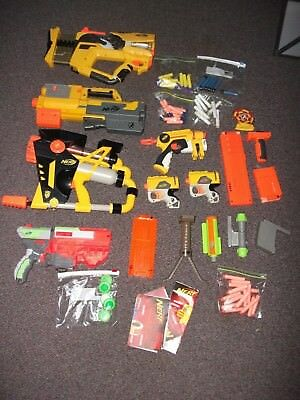 Large Lot of NERF Guns Weapons, Darts, Accessories +++  Must See   ALL WORKING