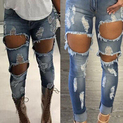 Womens Distressed Ripped Skinny Jeans High Waist Destroyed Frayed Stretch Pants
