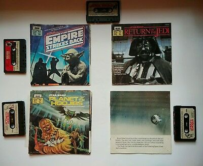 4 Vintage STAR WARS Read-Along Record Books kids Empire Strikes Back w/ Cassette