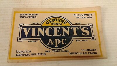 Vintage NOS unopened Vincents cold/headache powder packet/packaging logo/sign