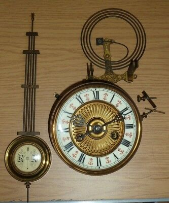 Vintage HAC German wall clock movement dial & pendulum for spares