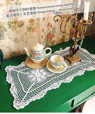 Cotton Yarn Hand Crocheted Table Runner 34cm W x 74cm L CR01