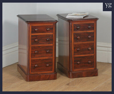 Antique Pair Two English Victorian Mahogany Bedside Chests Tables Nightstands