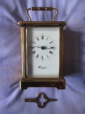 Woodford Lacquered Brass Carriage Clock Five Bevelled Glass Panels 11 Jewels Key