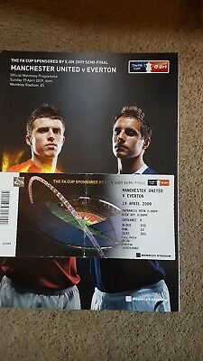 Man utd v everton fa cup semi final 2009 programme and match ticket