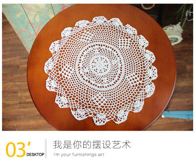 Cotton Yarn Hand Crocheted Table Cloth Round 28cm White CR09