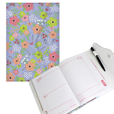 2019 Day a Page A6 Diary PU Cover, Magnet Close - Flowers Grey