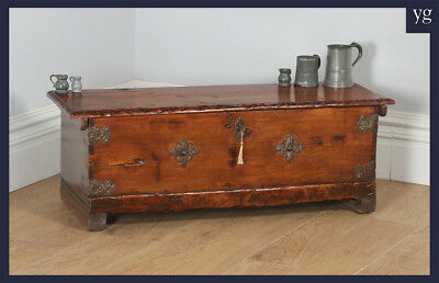 Antique Spanish Pitch Pine Sword Chest Ottoman Coffer Trunk Coffee Table c.1800