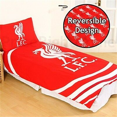 Official Liverpool Fc 'pulse' Single Duvet Cover And Pillowcase Set - Club