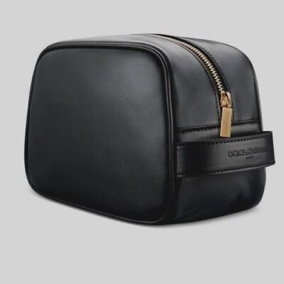 Dolce & Gabbana Men Black Leather Toiletry Bag Travel Cosmetic Case