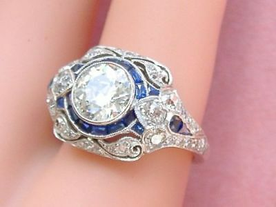 1.60 Ct Round Cut Vintage Art Deco Engagement Ring CIRCA 1913's Sterling Silver