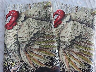 NEW 2 Williams Sonoma TURKEY Thanksgiving Fall Dish Cup Towels COTTON NWOT