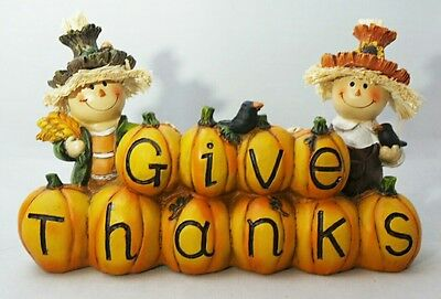Scarecrow Give Thanks Fall Harvest Thanksgiving Table Decor Centerpiece Gift