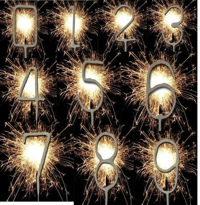 New Sparkler Cake Topper Party Cake Fireworks Candle Birthday Number Silver 0-9