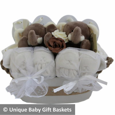Neutral twins baby gift hamper.  Unisex baby gift basket for twins. Twin gift.