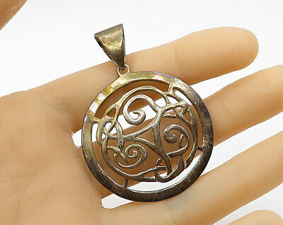 925 Sterling Silver - Vintage Round Intricate Celtic Symbol Pendant - P2607