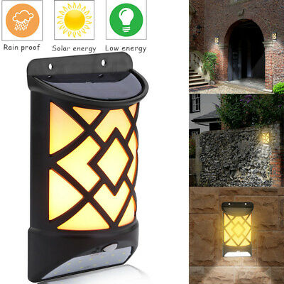 Solar Flame Wall Mount LED Light Outdoor Garden Path Landscape Fence Yard Lamp