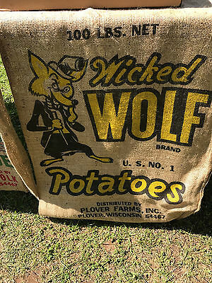 Vintage WOLF 100 lb Burlap Potato Sack Bag-Potatoes - Big Bad Wicked Wolf