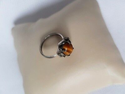 Ring Sterling Silver 925 with Tiger's Eye Precious Stone Size 4.5-5 Vintage 1970