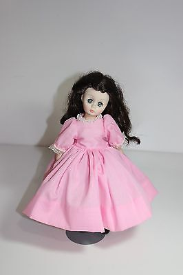 "Brunette long haired Madame Alexander  Doll 11"" doll in beautiful pink dress"