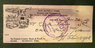 Autograph/Signature of Sgt. Alvin C. York, Signed personal check 1929