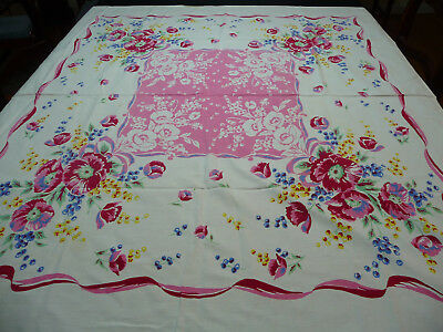 Vintage Cotton Print Tablecloth Pink Center with Red/Pink & Blue Flowers Around