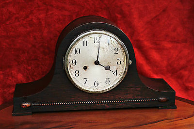 Vintage Art Deco Oak Case Mantel Clock with Chimes & Key, Made in England