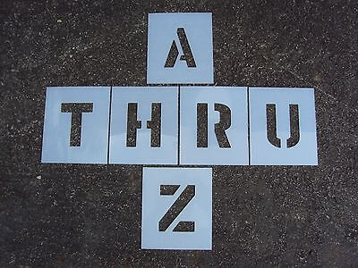 """6"""" x 4"""" Alphabet Stencils for Parking Lot Striping Playgrounds 60 Mil Thick LDPE"""