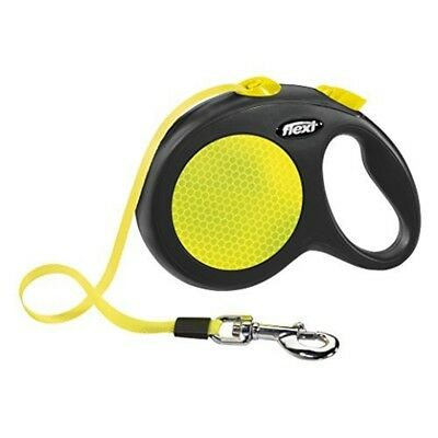 Flexi New Neon Retractable Lead Large Tape 5m, Neon - Dog Leash 5 Black Size M