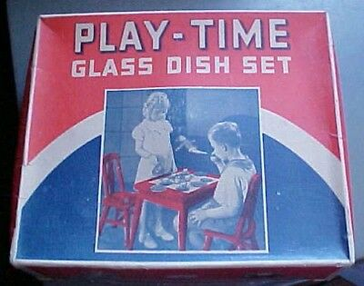 Akro Agate Play Time Glass Tea Set Childs Toy Dishes in Orig Box #132-vintage